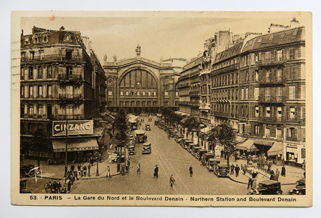 Antique french postcard of Northern Station and Boulevard Denain in Paris, France, circa 1930