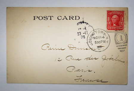 campaigning: Antique american postcard with stamp from NY nostalgic retro style paper background Editorial