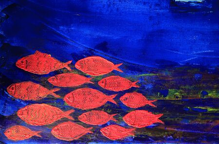 canvas art: Art abstract paint with red fish on blue canvas background Stock Photo