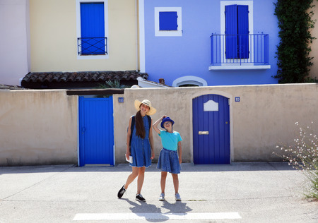 Beautiful girls enjoy in mediterranean city