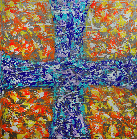 art painting: Abstract art painting with blue cross