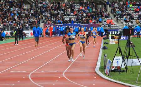 meters: Nataliia Lupu and Chanelle Price run 800 meters on DecaNation International Outdoor Games on September 13, 2015 in Paris, France.