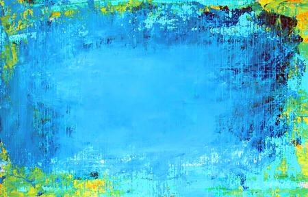アクリル絵の具で描かれたアート抽象の青い背景。 写真素材