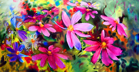 aquarelle: Watercolor painting of the beautiful flowers.
