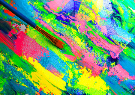 color mixing: Closeup background of brush and palette. Stock Photo