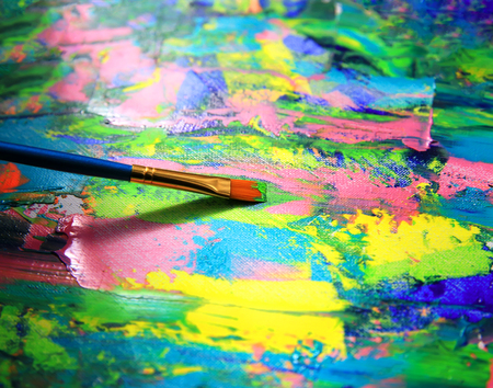 Close-up achtergrond van penseel en palet.
