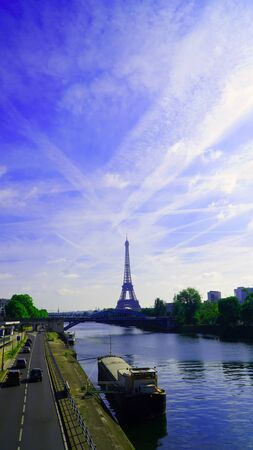 water reflection: Eiffel Tower in the day in Paris, France. Stock Photo