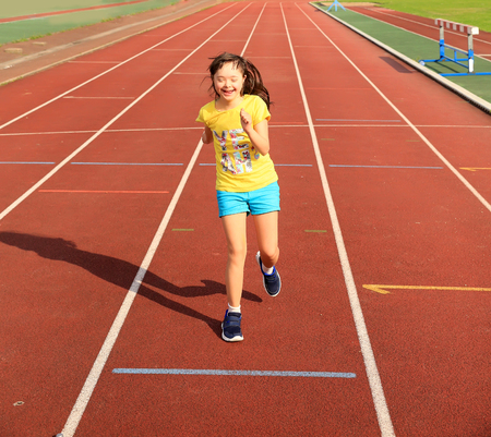 Disabled girl have fun on the stadium