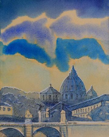 Basilica Sant Pietro and Ponte Vittorio Emanuele, Vatican, Rome, Italy. Lizenzfreie Bilder