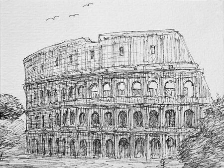 Roman cityscape of the Colosseum painted by ink