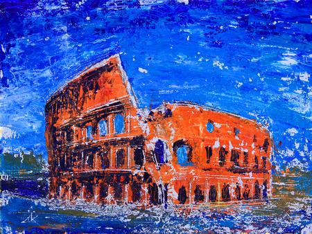 Paesaggio romano del Colosseo dipinto dallo acrilico Archivio Fotografico - 84111755