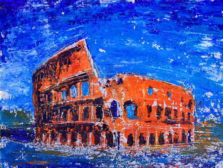 Römisches Stadtbild des Kolosseums gemalt von Acryl