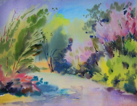 Watercolor painting forest landscape