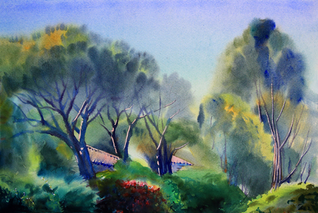 Watercolor painting country landscape