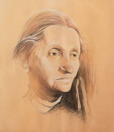 Pastel portrait of the old woman.