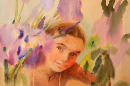Watercolor portrait of beautiful girl with flowers Lizenzfreie Bilder