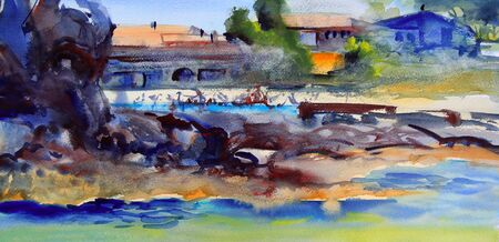 Watercolor painting of mediterranean abstract landscape