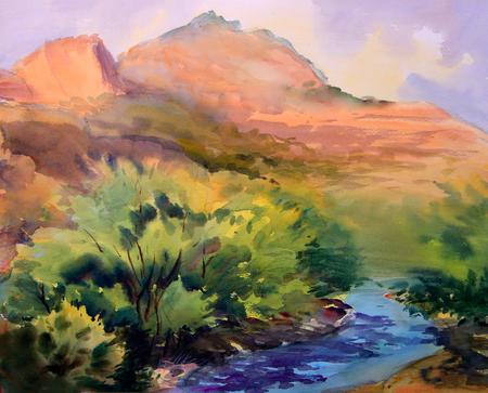 Watercolor painting landscape of Cote dAzur area, France.