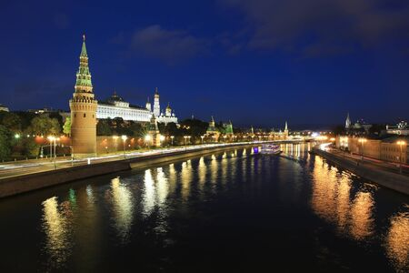 Moscow river and Kremlin in the evening, Moscow, Russia Lizenzfreie Bilder