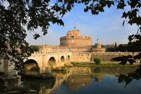 Castle St. Angelo and St. Angelo Bridge in Rome, Italy