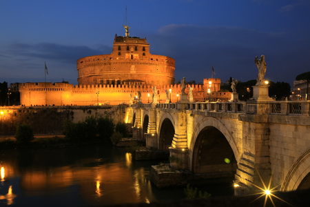 Castel St. Angelo and St. Angelo Bridge in Rome, Italy