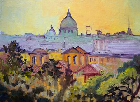 Basilica Sant Pietro panoramic painting, Rome, Italy. Stock Photo