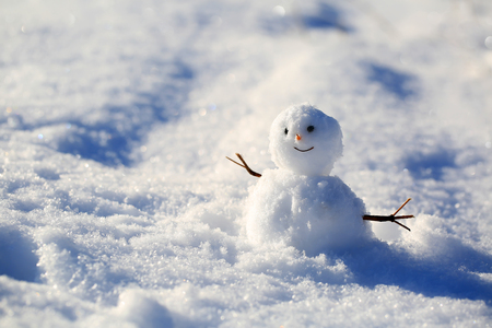 Funny snowman on the snow background
