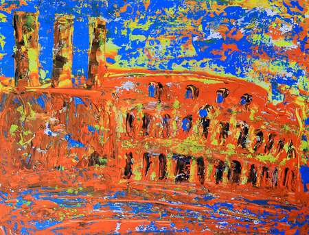 Abstract roman cityscape of the Colosseum painted by acryl Standard-Bild