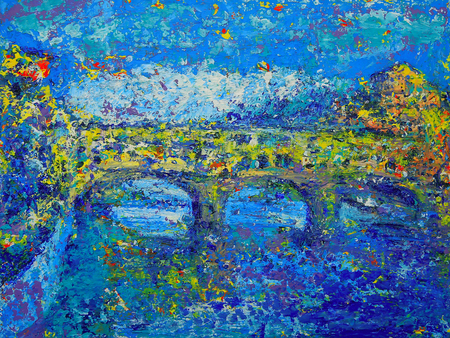 Abstract painting of Ponte Vecchio in Florence, Italy
