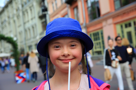 Little girl have fun in the city