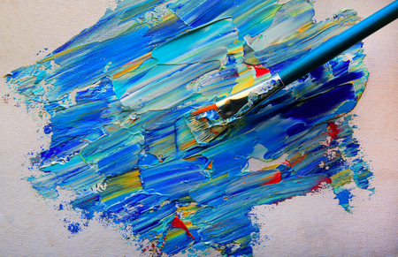 Closeup background of brush and palette. Standard-Bild