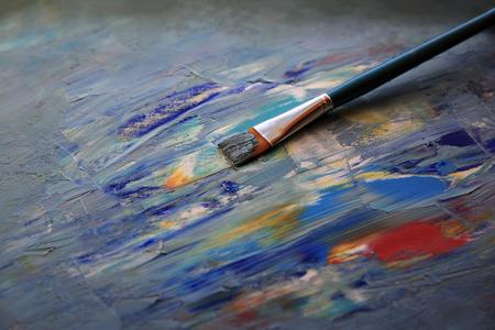 Closeup Hintergrund Pinsel und Palette. Standard-Bild