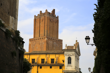 milizie tower, also known as Nerone tower, a medieval tower above the market of Traiano
