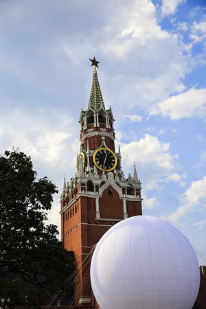 Spasskaya tower and Kremlin wall on the Red Square in Moscow, Russia