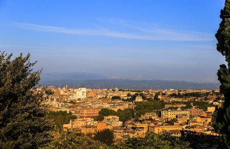 Panorama of old town in city of Rome, Italy