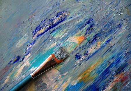 Closeup background of brush and palette. Reklamní fotografie
