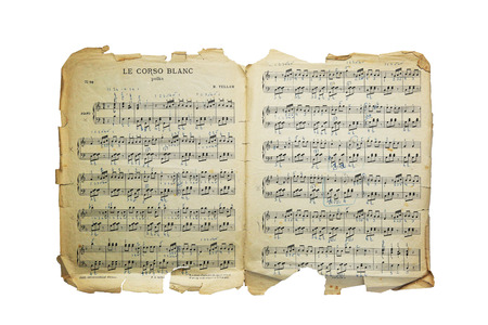Vintage old music notes paper of Heinrich Tellam (1854-1940) isolated on white