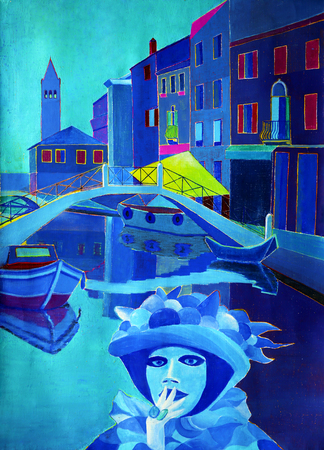 Art painting of Venice and carnival Stock Photo
