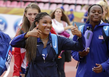 TAMPERE, FINLAND,  July 12: TARA DAVIS (USA) on the long jump in Tampere, Finland 9th July, 2018. The IAAF World U20 Championships on July 12, 2018. Editorial