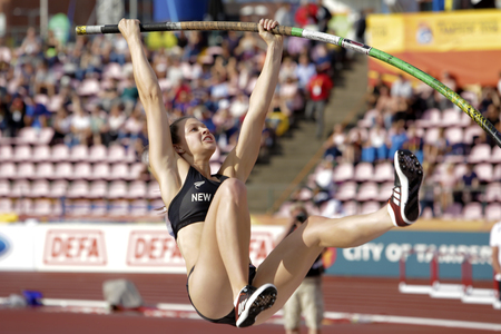TAMPERE, FINLAND, July 12: OLIVIA MCTAGGART (New Zealand), in the pole vault final in the IAAF World U20 Championship Tampere, Finland 12th July, 2018. Editorial