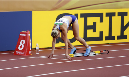 TAMPERE, FINLAND,  July 12: NIAMH EMERSON (GBR), English track and field athlete leeds in heptathlon in the IAAF World U20 Championship Tampere, Finland 12th July, 2018. Editorial