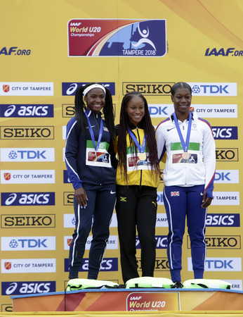 TAMPERE, FINLAND, July 13: BRIANA WILLIAMS (Jamaica) win gold TWANISHA TERRY (USA) silver KRISTAL AWUAH (GBR) bronze in 100 metrs on the IAAF World U20 Championship in Tampere, Finland 13th July, 2018