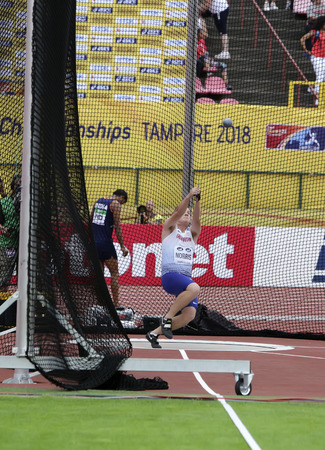 TAMPERE, FINLAND,  July 13: JAKE NORRIS (GBR), English track and field athlete win gold medal in hammer throw in the IAAF World U20 Championship Tampere, Finland 13th July, 2018.