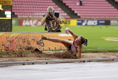TAMPERE, FINLAND, July 13: PETRA FARKAS (HUN) on the long jump on the IAAF World U20 Championship Tampere, Finland 13th July, 2018
