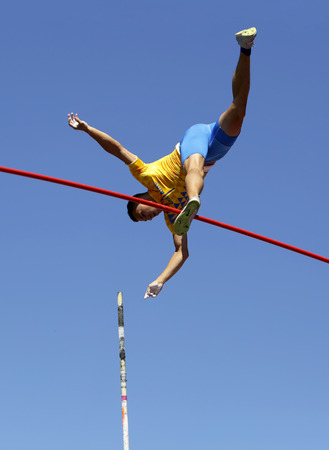 TAMPERE, FINLAND, July 14: ILLYA KRAVCHENKO from Ukraine in the final of the pole vault event on the IAAF World U20 Championship Tampere, Finland on 14th July, 2018.