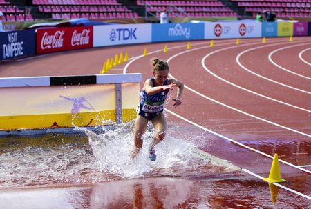 TAMPERE, FINLAND, July 10: LINDA PALUMBO from Italy on the 3000 meters STEEPLECHASE on the IAAF World U20 Championship Tampere, Finland 10th July, 2018