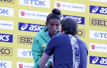 TAMPERE, FINLAND,  July 10: GIRMAWIT GEBRZIHAIR from Ethiopia win bronze in 5,000m at the IAAF World U20 Championships in Tampere, Finland on July 10, 2018.