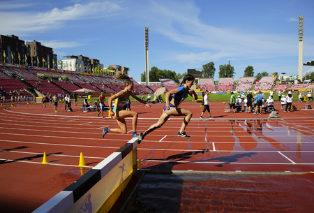 TAMPERE, FINLAND, July 10: BRIELLE ERBACHER from Australia and KRISTLIN GEAR from USA on the 3000 meters STEEPLECHASE on IAAF World U20 Championship Tampere,Finland 10th July, 2018
