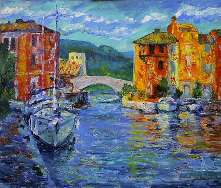 Art painting of Port Grimaud  in France 写真素材