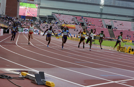 TAMPERE, FINLAND, July 12: Atheletes running at 100 metres final in the IAAF World U20 Championship in Tampere, Finland 12 July, 2018. Redactioneel